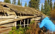 exploring the abandoned First Nations village at Yukon River